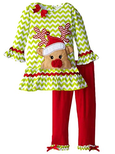 UNIQUEONE 2PCS Toddler Baby Girls Christmas Outfits Cartoon Deer Long Sleeve Top Pants Set Size 2-3Years/Tag100 (Green)