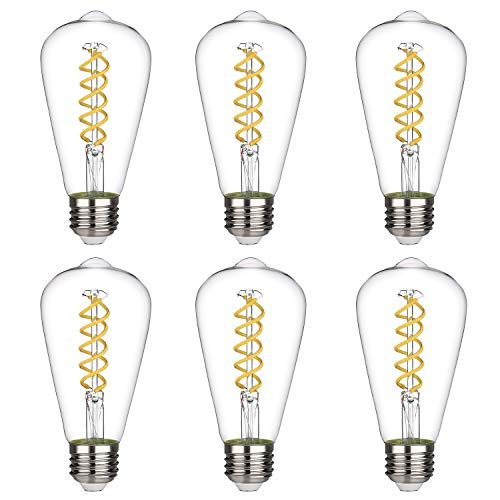 ST19(ST64) 4.5W Vintage Edison LED Bulb, Neutral White 4000K, Antique Flexible Spiral LED Filament Light Bulb, Dimmable 450lm, 4.5W Equivalent to 50W, E26 Medium Base, Clear Glass(4.5W-4000K-6 Pack)