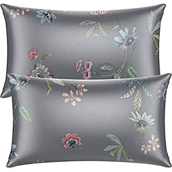 Neptten Gray Satin Pillowcase for Hair and Skin Wrinkle Fade Resistant Queen Size Pillowcases Set of 2 Satin Pillow Cases for Women Silky Floral Pillow Covers with Envelope Closure 20x30
