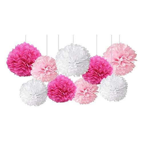 Heritan 9 Pcs/Set Mixed Tissue Paper Pompoms Pom Poms Flower Wedding Party Decoration ( Pink)