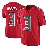 FGRGH Buccaneers Rugby Jerseys, Winston # 3 Jerseys de Football américain, Sweatshirts Hommes Traduction T-Shirts Occasionnels Winston 3-M