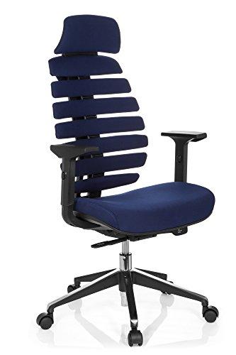 HJH OFFICE 714550 professionele bureaustoel Ergo LINE II PRO stof, blauw, ergonomische draaistoel met lenden- en hoofdsteun