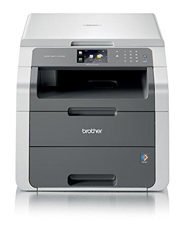 Brother DCP-9017CDW - Impresora multifunción láser (18 ppm, 1200 x 2400 dpi, LED), Color Blanco y Gris