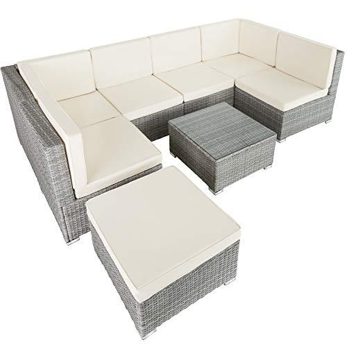 TecTake 800762 Conjunto Muebles de Jardín Ratán, Set Comedor, Asientos Taburete Mesa, Tornillos de Acero Inoxidable, Exterior Jardin Patio (Gris Claro | No. 403700)