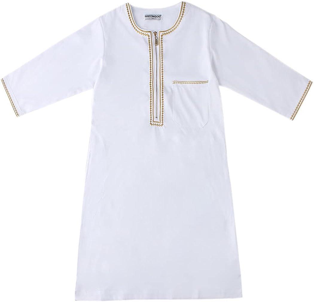 KEHAIEN Muslim Child Long Dress Thobe, Boy Muslim Jubah, Comfortable and Breathable, Middle East Full Sleeve Jubba