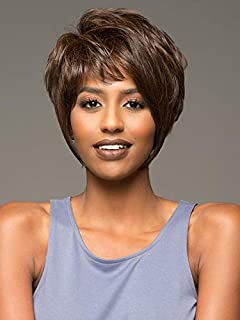 YIMANEILI Short Brown Wigs for Women Bob Hair Wigs with Bangs Fluffy Afro Wigs for African American Women Heat Resistant Synthetic Full Wigs for Party Costume 100g (Brown) YM003
