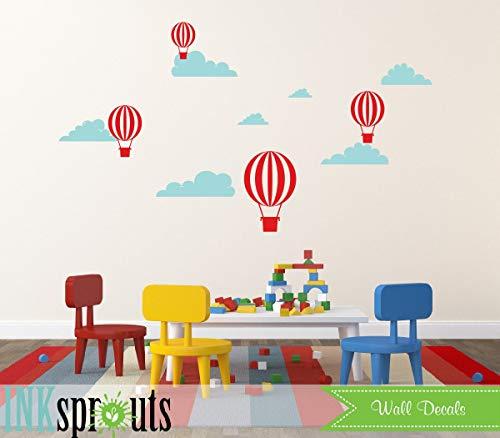 Hot Air Balloon Decal, Oh The Places You go, luchtballonnen Decal, wolken, eenvoudig, moderne kinderdagverblijf, kwekerij Decals, Baby Decals, gemakkelijk aan te brengen en verwijderbaar