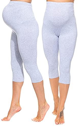 Sibinulo Mujer Leggins Premamá Maternidad 3/4 algodón Deporte Embarazo Pantalones Embarazadas Ropa Pantalones de Yoga para Embarazadas Gris Melange S
