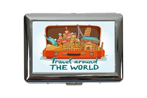 portasigarette in Metallo Vacanza Agenzia Di Viaggi Viaggi nel mondo Stampato