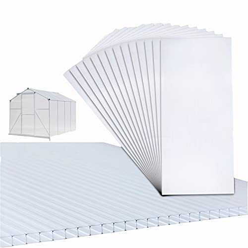 Thanaddo 14 Stück 4mm Stegplatten Polycarbonat Hohlkammerstegplatten Für Gewächshaus Gartenbau Carports usw