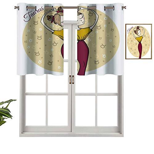 Hiiiman Panel de cortina con ojales de alta calidad, diseño de mujer astrología, equilibrio de belleza, tierra, impresión femenina, juego de 2, 54 x 24 pulgadas para decoración de interiores