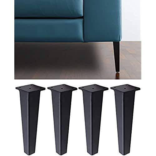 IPEA 4X Piedi per Divani e Mobili Modello Neutrone – Set di 4 Gambe in Ferro – Piedini dal Design Moderno ed Elegante Colore Nero Opaco, Altezza 195 mm