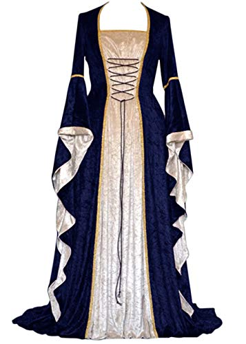 YEAXLUD Womens Renaissance Medieval Costume Dress Lace up Irish Over Long Dresses Cosplay Retro Gown S-5XL (L, Navy)
