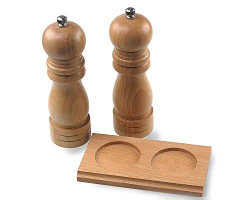 Salz- und Pfeffermühlen-Set aus Holz mit Standfuß, Keramikmahlwerk
