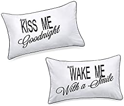 DasyFly His Hers Pillowcases for Couples,Always Kiss Me Goodnight..Unique Anniversary Engagement Wedding Valentines Day Naughty Christmas Gifts For The Couple, Cute Birthday Gifts for Girlfriend