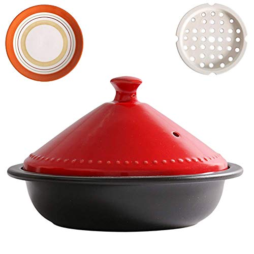 Moroccan Tagine Pot With Red Lid,ceramic Casserole Steamer Braiser Pan Healthy Saucepan Earthen Pot For Braising Slow Cooking Black 0.73quart
