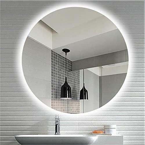 WYYUE Espejo De Baño Redondo Iluminado, Antivaho Inteligente, Espejo De Pared, Espejo Montado con Reloj Digital E Indicador De Temperatura, para Sala De Estar, Dormitorio