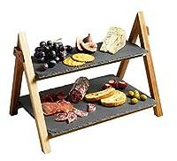 kitchen craft master class - supporto da servizio a 2 ripiani, in ardesia e legno di acacia, 40 x 30 x 25 cm