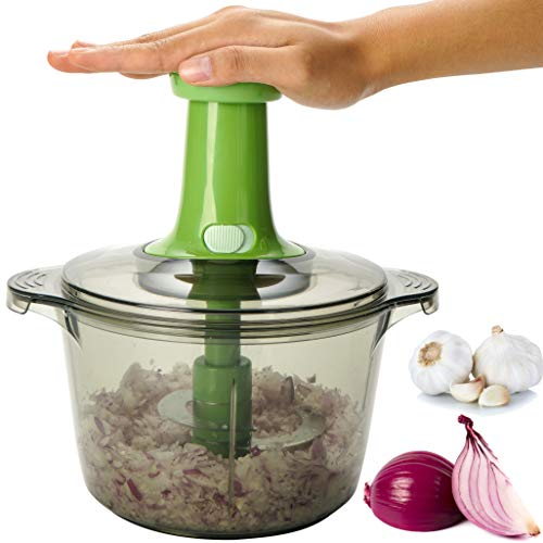 Brieftons Express Food Chopper: 2-Litre, Quick, Easy, Powerful Manual Hand Held Chopper to Chop Fruits, Vegetables, Herbs, Onions for Salad, Salsa, Pesto, Hummus, Coleslaw, Puree