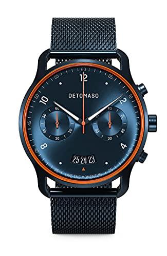 DETOMASO SORPASSO Velocita Blue Orange Herren-Armbanduhr Analog Quarz Mesh Milanese Blau Brushed