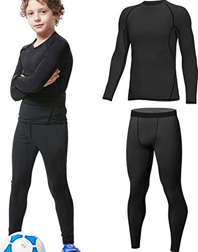 HOPLYNN - Thermounterwäsche Set für Kinder Funktionsunterwäsche Skiunterwäsche Jungen Atmungsaktiv Thermo Unterwäsche Warme Fussball Ski Schwarz L