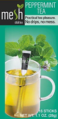 Mesh Tee 16 Sticks - Tee genießen leicht gemacht - Kein Beutel, Kein Tropfen, Kein Löffel - Einfach in der Handhabung, natürlich im Geschmack! (Pfefferminz Tee)