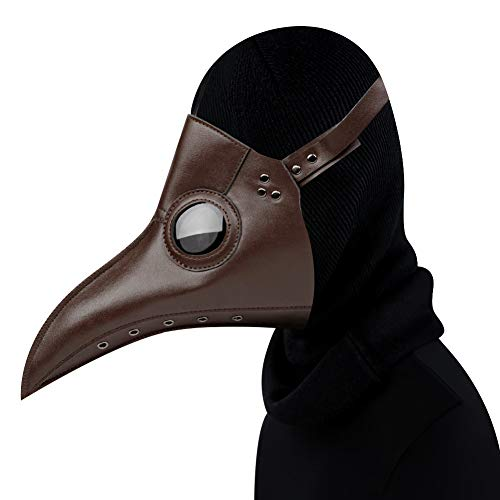 Zishine Plague Doctor Mask Halloween Stage Puntelli Costume Steampunk Gothic Cosplay Retro Mask Pelle,Marrone