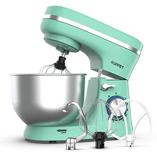 KUPPET Stand Mixer, 8-Speed Tilt-Head Electric Food Stand Mixer with Dough Hook, Wire Whip & Beater, Pouring Shield, 4.7QT Stainless Steel Bowl (Green)