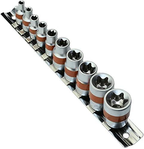 AERZETIX - Juego/Soporte/Kit/Riel de 10 Vasos/Puntas de Atornillado - 1/4-E4,E5,E6,E7,E8 3/8-E10,E12,E14,E16,E18 -...