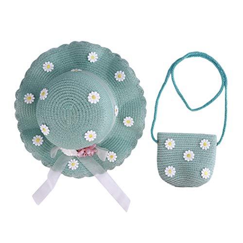 LPOQW Gorra para niños con bolsa de mano, sombrero de paja, sombrero de ala ancha para bebés y niñas, al aire libre, caminar, escuela, azul