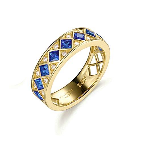 AmDxD oro amarillo 18 quilates (750) princess-shape Blue White Sapphire
