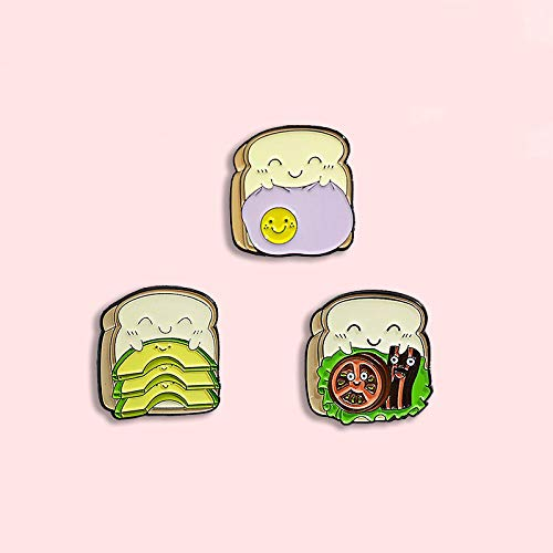 ZSCZQ Köstliches Sandwich Abzeichen Mode Cartoon Tomaten Omelett Speck Avocado Toast Brot Emaille Brosche Spaß Revers Rucksack Schmuck Geschenk WY0529