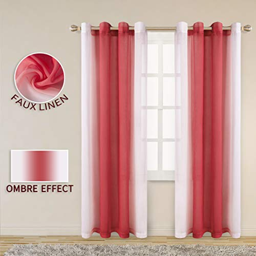 LORDTEX Faux Linen Ombre Sheer Curtains for Bedroom - Voile Semi Sheer Curtains Grommet Top Gradient Curtains for Living Room, Set of 2 Panels, Red, 52 x 72 Inch