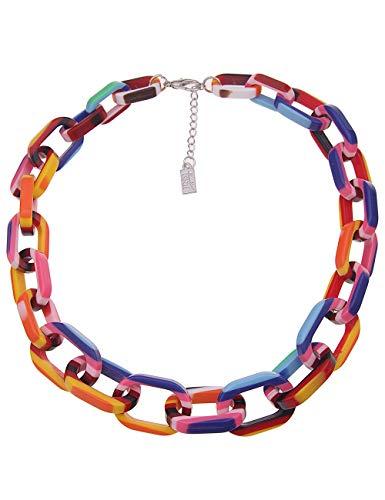 Leslii Damen Kette, Kurze Bunte Statement Halskette in Regenbogen Farben, Modeschmuck Collier, Gliederkette im Sommer Look