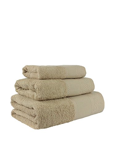 Flor de Algodón Panama Juego de 3 toallas algodón, ARENA, 30x50, 50x90, 100x140, 3
