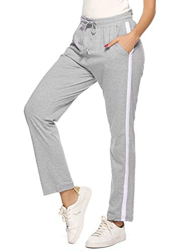 Hawiton Pantalones Deportivos para Mujer 100% Algodón Pantalón de Chándal con Bolsillos para Gimnasio Deportes Correr Entrenamiento Jogging Pantalones de Pijama Largos de Rayas