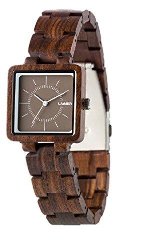 LAiMER Damen-Armbanduhr ISABEL Mod. 0056 aus Sandelholz - Analoge Quarzuhr mit dunklem Holzarmband