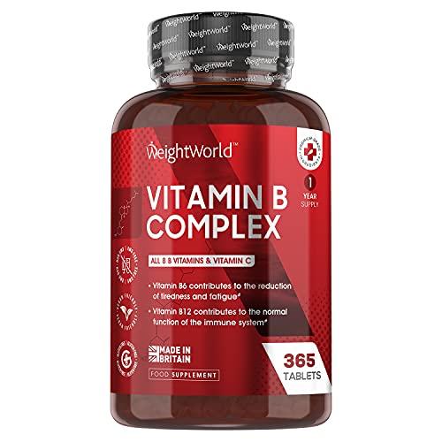 Vitamin B Komplex - 365 vegane Tabletten - 1 Jahr Vorrat - Alle B Vitamine und Vitamin C - 200µg Folsäure, 150µg Biotin & 50µg Vitamin B12 pro Tablette - Gut verträglich & bioverfügbar - WeightWorld
