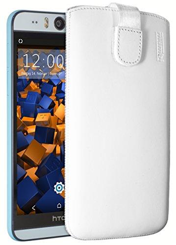 mumbi Echt Ledertasche kompatibel mit HTC Desire Eye Hülle Leder Tasche Hülle Wallet, Weiss