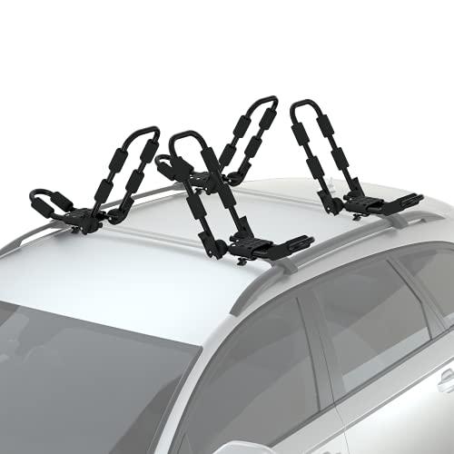 Reliancer 2 Pairs Folding Kayak Rack J-Style Car Roof Rack for Canoe Surfboard Ski Board SUP w/ 4PCS...