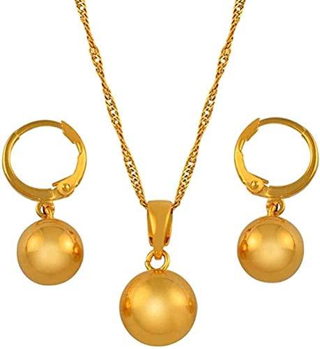 banbeitaotao Collar de Cuentas de Color Dorado, Pendientes para Mujeres, niñas, Conjuntos de Joyas con dijes, Collares de Bolas Redondas, Collar árabe de Nigeria, Cadena Fina de 60 cm de Longitud