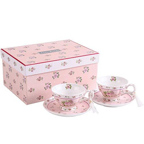 London Boutique Tee-/Kaffeetassen und Untertassen im Vintage-Stil, porzellan, Set in Geschenk-Box, keramik, Rose Pink 2pc Set, 11x8cm