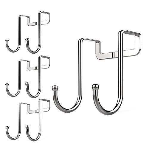 Poeland 1kuan Over Cabinet Drawer Double Hooks 304 Stainless Steel Multiple Use Narrow Door Hook for Kitchen, Bathroom, Drawer, Wardrobe Door, Cabinet Door to Hang Bags, Towels, Coat More Pack of 4