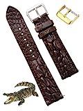 Correa de reloj de cocodrilo hecha a mano de 22 mm, color marrón oscuro, correa de reloj de cocodrilo de repuesto por Vietnamese Craftman DH-84-22 mm