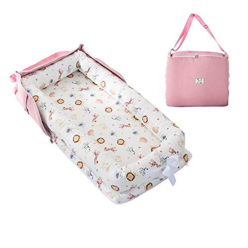TEALP Tumbona para bebé con Almohadas, Nido Transpirable para Bebé Recién Nacido para Cosleeping, Capazo de Bebé, animal rosa