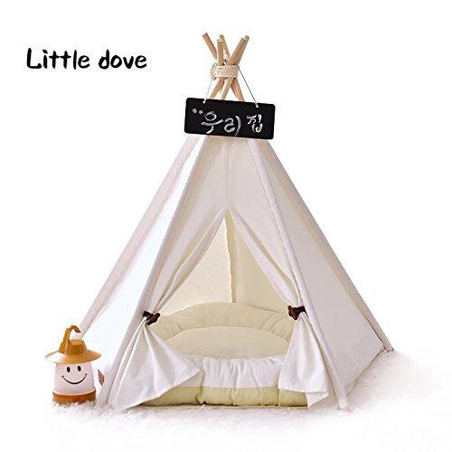 little dove,Hunde-Tipi-Zelt, Hause und Zelt mit Spitze für Hund oder Haustier, abnehmbar und waschbar mit Matraze,Weisse (L)
