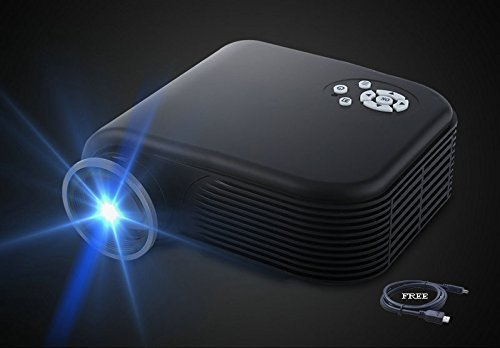 """2018 Projector(Warranty Included),XINDA 170"""" Video Projectors 1080P Home Cinema Theater Support Smartphones, DVD Player, Laptops and Tablets(Black)"""