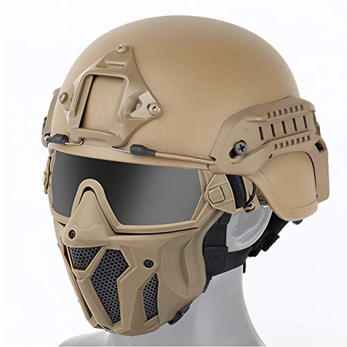 WTZWY Mich 2000 taktischer Helm & Full Face Protection Airsoft-Maske mit Abnehmbarer Anti-Fog-Schutzbrille für Airsoft Paintball Hunting CS-Spiele,T