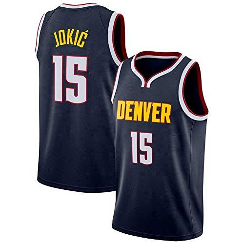 WOLFIRE SC Camiseta de Baloncesto para Hombre, NBA, Denver Nuggets 15# Nikola Jokic. Bordado Swingman Transpirable y Resistente al Desgaste Camiseta para Fan (Azul Rojo, XL)