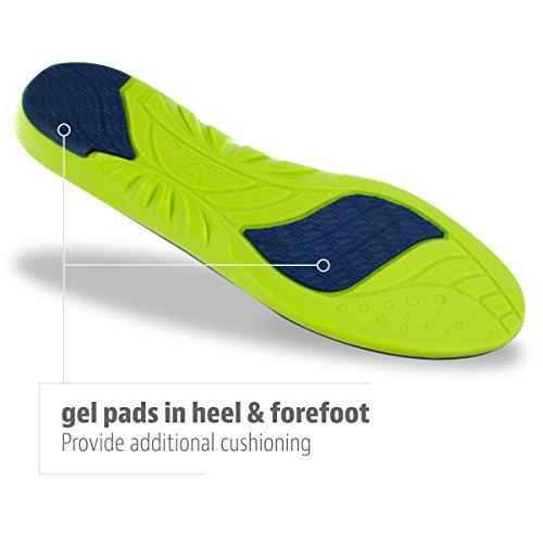 Sof Sole Insoles Men's Athlete Performance Full-Length Gel Shoe Insert, Men's 11-12.5 Blue